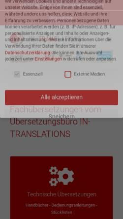 Vorschau der mobilen Webseite www.in-translations.com, IN-TRANSLATIONS GmbH