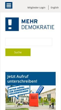 Vorschau der mobilen Webseite www.mehr-demokratie.de, Mehr Demokratie e.V.