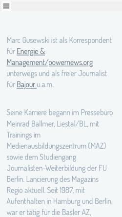 Vorschau der mobilen Webseite www.gusewski.ch, Pressebüro Marc Gusewski