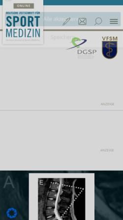 Vorschau der mobilen Webseite www.zeitschrift-sportmedizin.de, Deutsche Zeitschrift für Sportmedizin