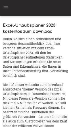 Vorschau der mobilen Webseite www.excel-urlaubsplaner.de, Excel Homepage Werner Theis