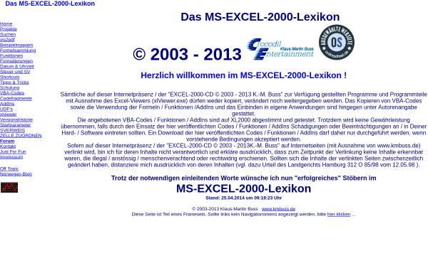 Vorschau von www.kmbuss.de, Das Excel-2000-Lexikon