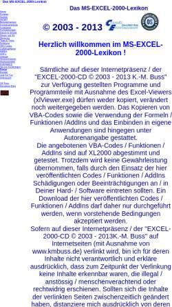 Vorschau der mobilen Webseite www.kmbuss.de, Das Excel-2000-Lexikon