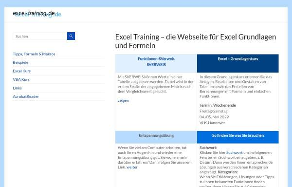 Vorschau von www.excel-training.de, Excel-Training