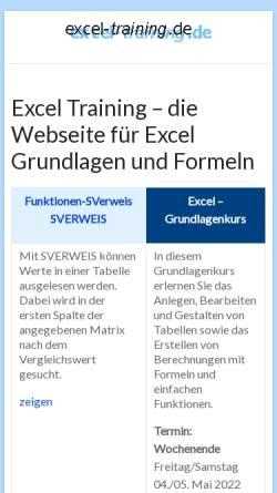 Vorschau der mobilen Webseite www.excel-training.de, Excel-Training