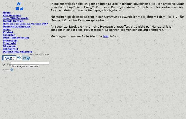 Vorschau von hajo-excel.de, Hajo's Excelseiten