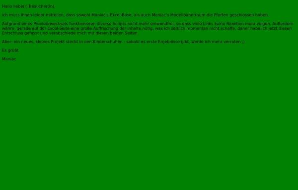 Vorschau von www.mr-maniac.de, Maniacs Excel-Base