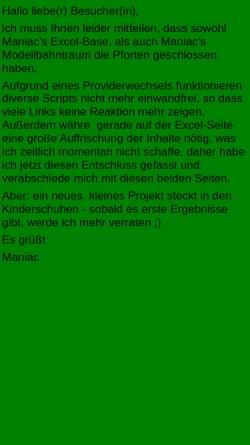 Vorschau der mobilen Webseite www.mr-maniac.de, Maniacs Excel-Base
