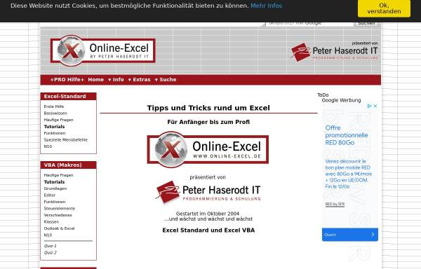 Vorschau von www.online-excel.de, Online-Excel