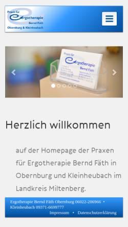 Vorschau der mobilen Webseite www.ergotherapie-miltenberg.de, Ergotherapie-Praxen Bernd Fäth
