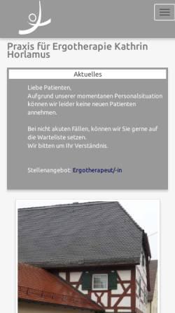 Vorschau der mobilen Webseite www.eckentaler-ergotherapie.de, Praxis für Ergotherapie Kathrin Horlamus