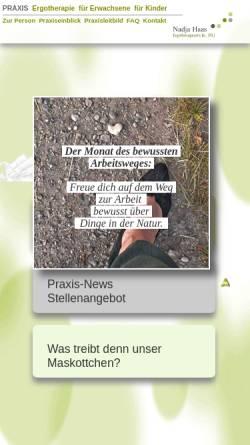 Vorschau der mobilen Webseite www.ergotherapiepraxis-haas.de, Praxis für Ergotherapie Nadja Haas