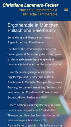 Vorschau der mobilen Webseite www.ergotherapie-lerntherapie-muenchen.de, Praxis für Ergotherapie und Klinische Lerntherapie Christiane Lammers-Fecker