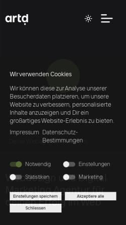 Vorschau der mobilen Webseite www.artd.ch, artd webdesign, Raphael Steinhoefel
