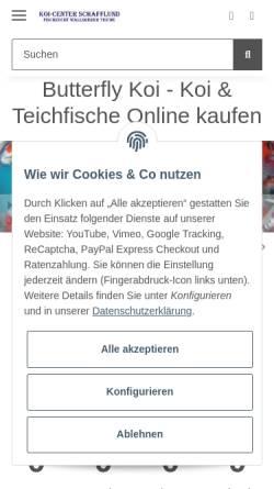Vorschau der mobilen Webseite www.fischzucht-koicenter.de, Fischzucht Koi-Center Wallsbeker Teiche
