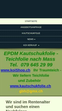 Vorschau der mobilen Webseite www.koishop.ch, Gasthof & Koi-Gartenteich, Marianne + Fritz Schär -Zuber