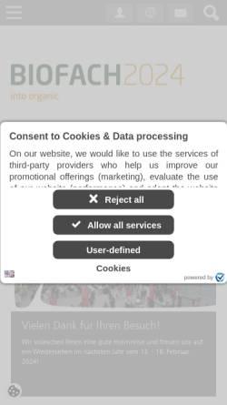 Vorschau der mobilen Webseite www.biofach.de, BioFach