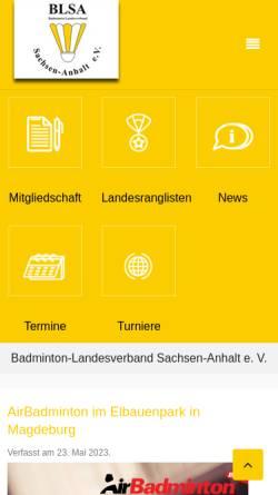Vorschau der mobilen Webseite www.blsa.de, Badminton Landesverband Sachsen-Anhalt e.V.