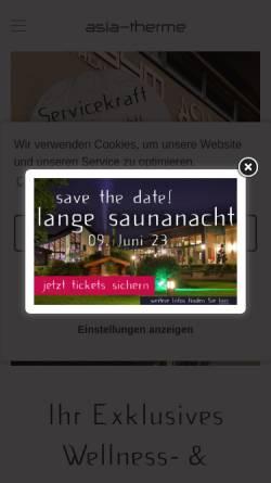Vorschau der mobilen Webseite www.asia-therme.de, Asia-Therme Wellness-Spa GmbH