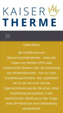 Vorschau der mobilen Webseite www.kaiser-therme.de, Kaiser-Therme Bad Abbach