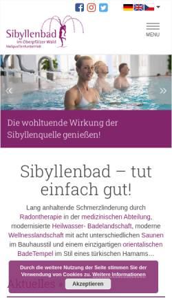 Vorschau der mobilen Webseite www.sibyllenbad.de, Sibyllenbad im Oberpfälzer Wald