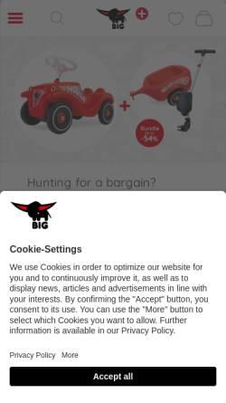 Vorschau der mobilen Webseite www.big.de, BIG Spielwarenfabrik GmbH & Co. KG