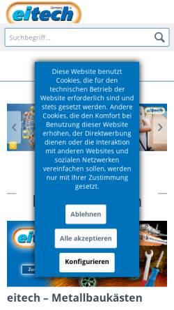 Vorschau der mobilen Webseite www.eitech.de, Eitech GmbH