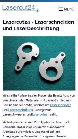 Vorschau der mobilen Webseite www.lasercut24.de, Lasercut24 - Thomas Frey