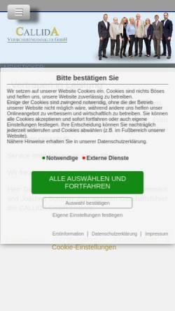 Vorschau der mobilen Webseite callida.de, Callida Versicherungsmakler GmbH