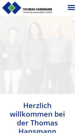 Vorschau der mobilen Webseite www.hansmann.de, Thomas Hansmann Versicherungsmakler GmbH