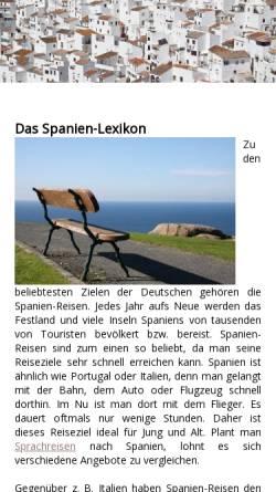Vorschau der mobilen Webseite www.spanien-lexikon.de, Spanien Lexikon