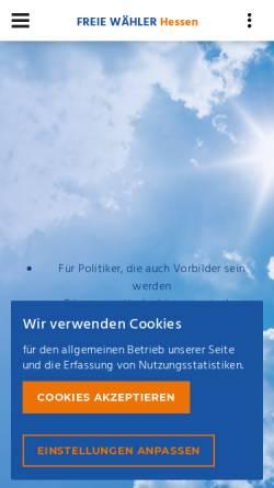 Vorschau der mobilen Webseite www.freiewaehler-hessen.de, Freie Wähler Hessen