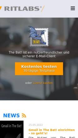 Vorschau der mobilen Webseite www.ritlabs.com, The Bat!