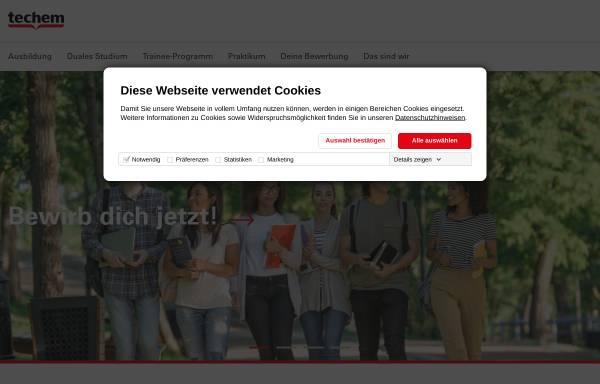 Vorschau von ausbildung.techem.de, Ausbildungs-Homepage der Firma Techem