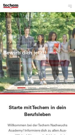Vorschau der mobilen Webseite ausbildung.techem.de, Ausbildungs-Homepage der Firma Techem