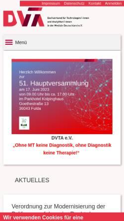 Vorschau der mobilen Webseite dvta.de, Deutscher Verband Technischer Assistentinnen/Assistenten in der Medizin