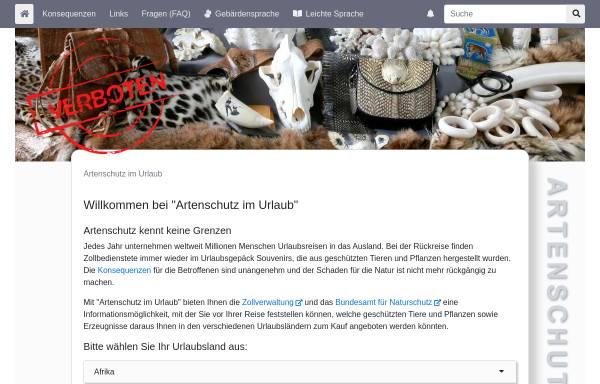 Vorschau von www.artenschutz-online.de, Artenschutz im Urlaub