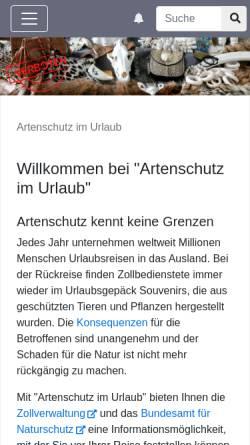Vorschau der mobilen Webseite www.artenschutz-online.de, Artenschutz im Urlaub