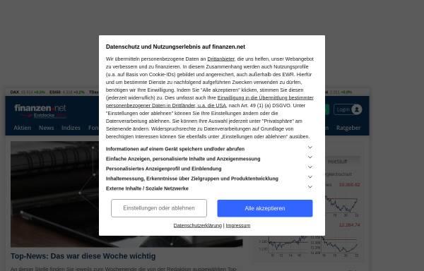 Vorschau von www.finanzen.net, Finanzen.net by Smarthouse Media GmbH