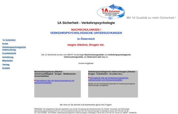 Vorschau von www.1asicherheit.at, 1A Sicherheit Verkehrspsychologische Lösungen GmbH