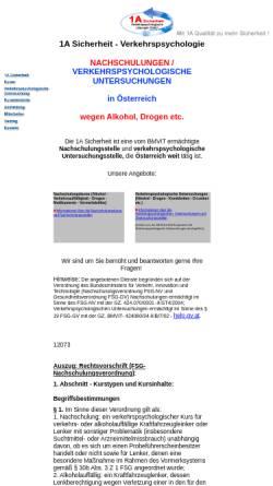 Vorschau der mobilen Webseite www.1asicherheit.at, 1A Sicherheit Verkehrspsychologische Lösungen GmbH