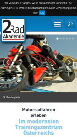 Vorschau der mobilen Webseite www.2rad-akademie.at, 2rad-Akademie - Fahrschule Columbus, Wien