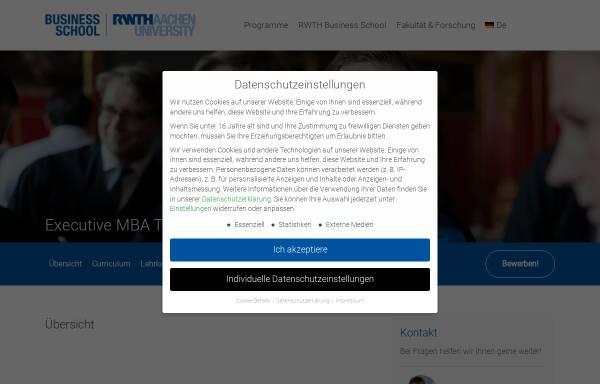 Vorschau von www.emba.rwth-aachen.de, Executive MBA für Technologiemanager