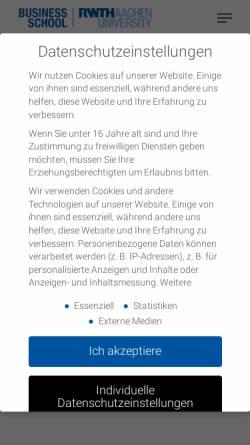 Vorschau der mobilen Webseite www.emba.rwth-aachen.de, Executive MBA für Technologiemanager