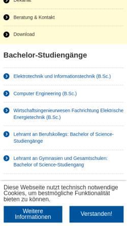 Vorschau der mobilen Webseite www.fb6.rwth-aachen.de, Fakultät für Elektrotechnik und Informationstechnik der RWTH Aachen