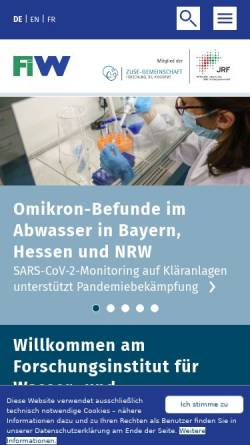 Vorschau der mobilen Webseite www.fiw.rwth-aachen.de, Forschungsinstitut für Wasser- und Abfallwirtschaft an der RWTH Aachen e.V.