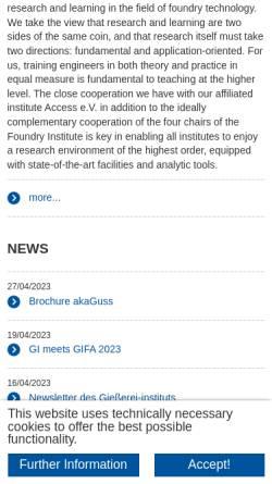 Vorschau der mobilen Webseite www.gi.rwth-aachen.de, Gießerei-Institut der RWTH Aachen