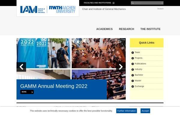 Vorschau von www.iam.rwth-aachen.de, Institut für Allgemeine Mechanik (IAM) der RWTH Aachen