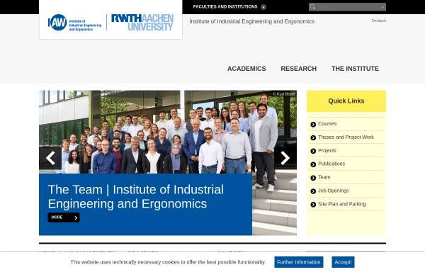 Vorschau von www.iaw.rwth-aachen.de, Institut für Arbeitswissenschaft [IAW] der RWTH Aachen