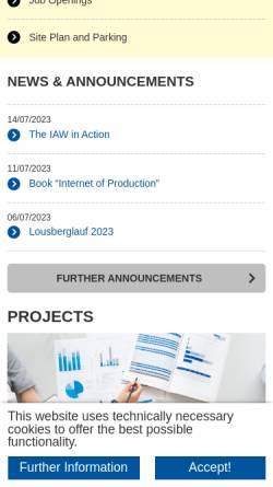Vorschau der mobilen Webseite www.iaw.rwth-aachen.de, Institut für Arbeitswissenschaft [IAW] der RWTH Aachen